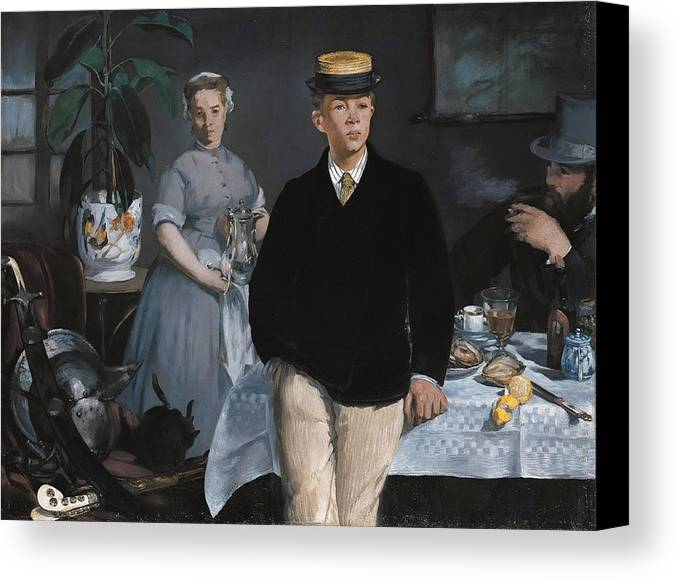 Eating Canvas Print featuring the painting Luncheon In The Studio by Edouard Manet