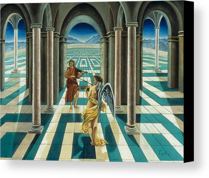 Angelic Canvas Print featuring the painting Musicians In The Temple by Gloria Cigolini-DePietro