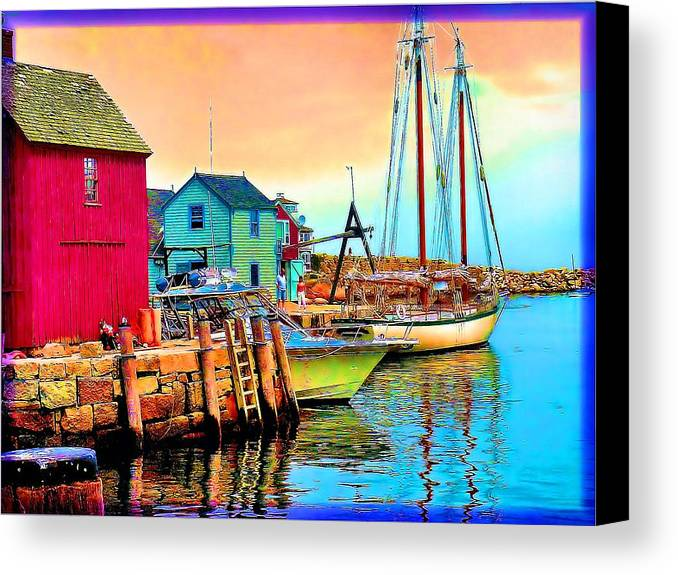 Canvas Print featuring the painting 2449  Rockport by Ed Immar