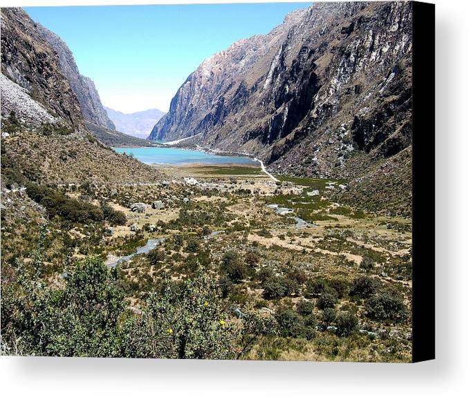 Andes Cordillera Mountain Hill Hills River Rios Peru Inca Canvas Print featuring the photograph The Andes by Photos by JA Aica