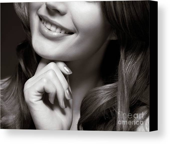 Beauty Canvas Print featuring the photograph Beautiful Young Smiling Woman by Oleksiy Maksymenko
