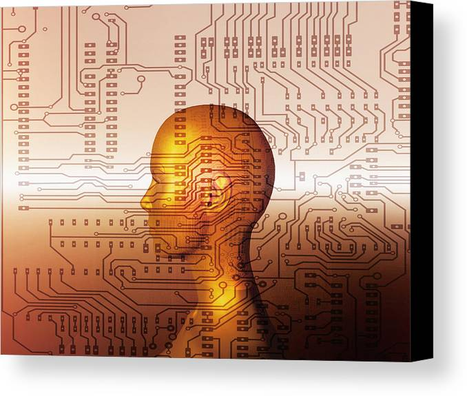 Human Canvas Print featuring the photograph Artificial Intelligence by Mehau Kulyk
