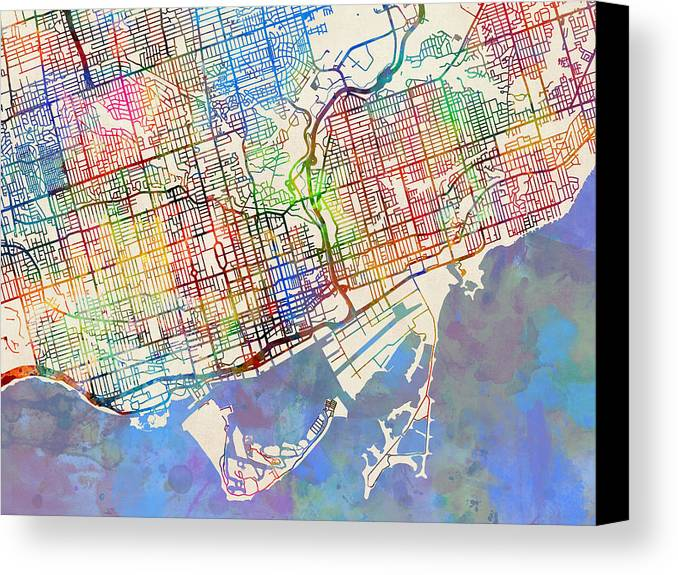 Toronto street map canvas print canvas art by michael tompsett street map canvas print featuring the digital art toronto street map by michael tompsett gumiabroncs Image collections