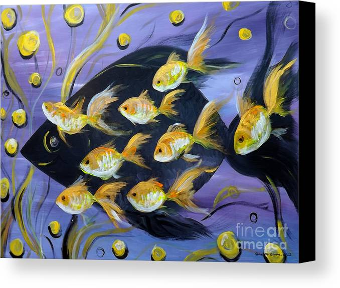 Fish Canvas Print featuring the painting 8 Gold Fish by Gina De Gorna