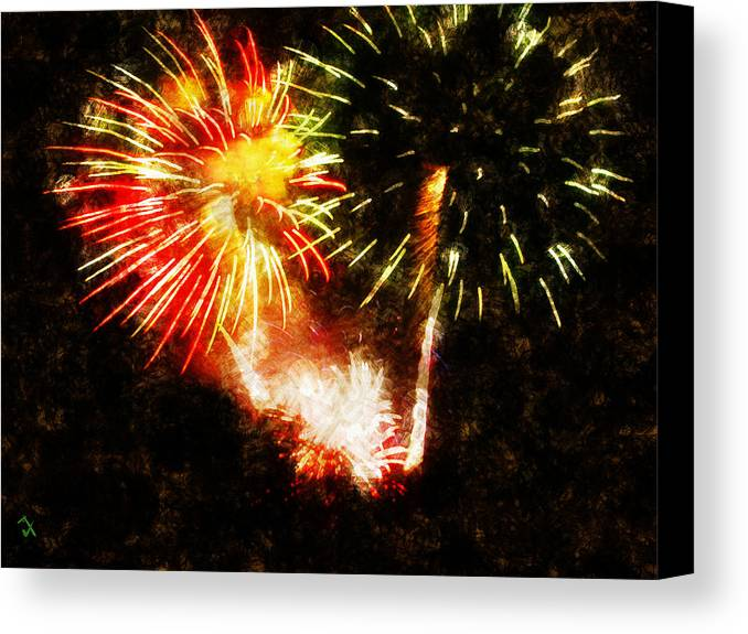 Fireworks Canvas Print featuring the painting A 4th Celebration by Adam Vance