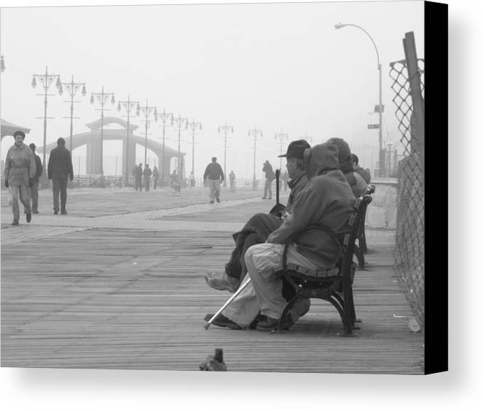 Coney Island Canvas Print featuring the photograph A Bench At Coney Island by Peter Aiello