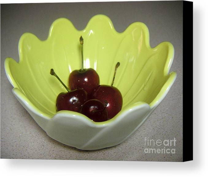Nature Canvas Print featuring the photograph A Bowl Of Cherries by Lucyna A M Green
