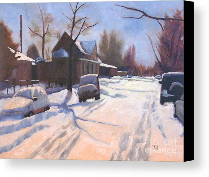 Snow Canvas Print featuring the painting A Christmas Snow by Tate Hamilton
