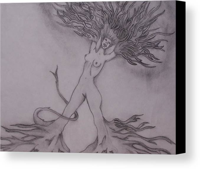 Abstract Canvas Print featuring the drawing A Dance With The Wind by Erin Hope