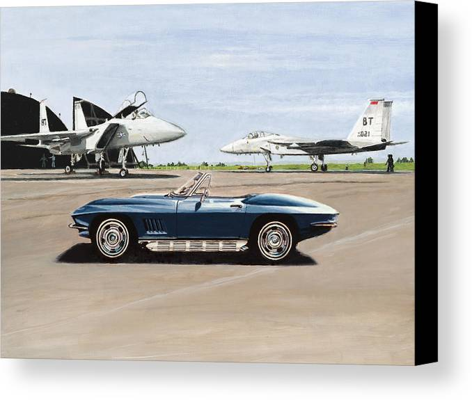 Corvette Canvas Print featuring the painting A Pilots Dream by Richard Herron