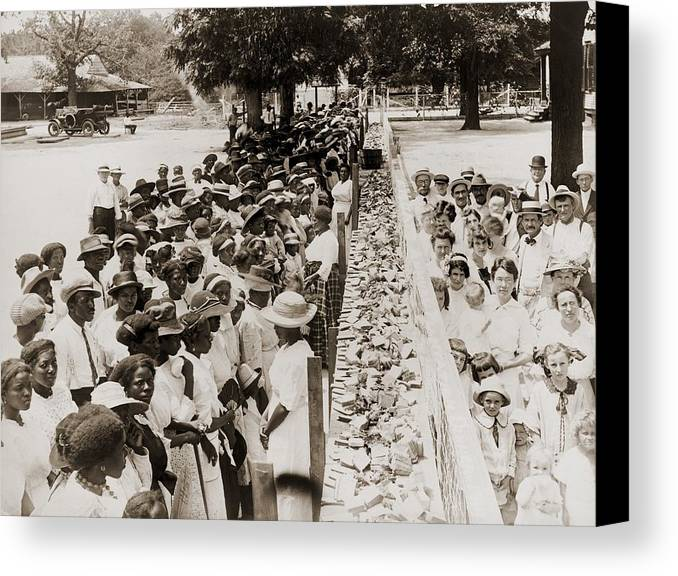 History Canvas Print featuring the photograph A Properly Segregated Summer Social by Everett