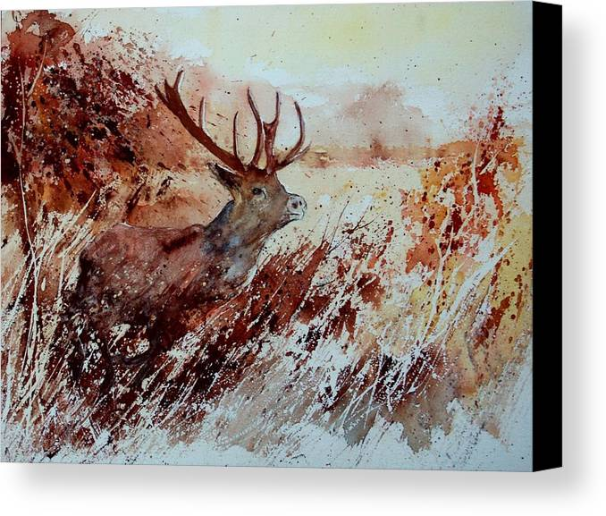Animal Canvas Print featuring the painting A Stag by Pol Ledent