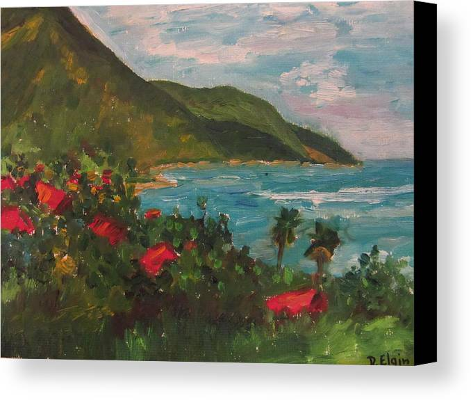 Landscape Hotels St Croix Canvas Print featuring the painting A View Of Carambola by Diane Elgin