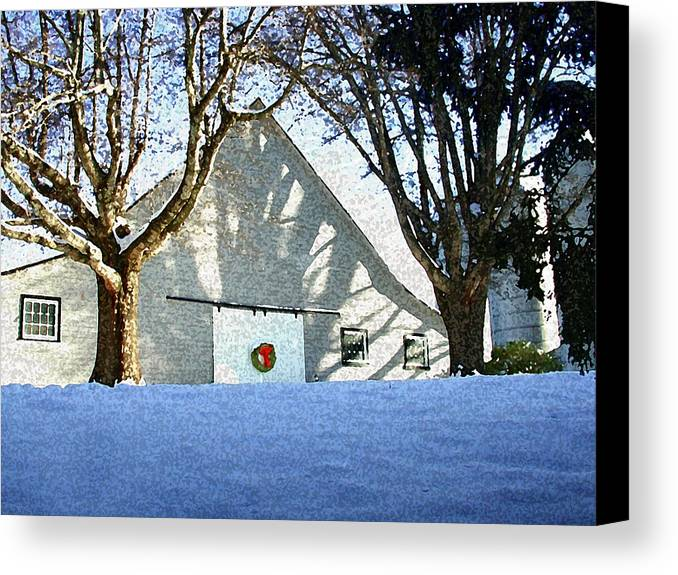 Barn Canvas Print featuring the photograph A Winter Holiday At The Farm by Robert Ponzoni