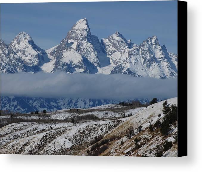 Teton Canvas Print featuring the photograph Above The Clouds by DeeLon Merritt