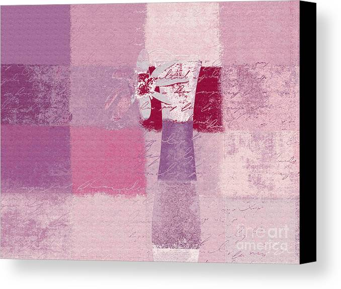 Abstract Canvas Print featuring the digital art Abstract Floral - 11v3t09 by Variance Collections