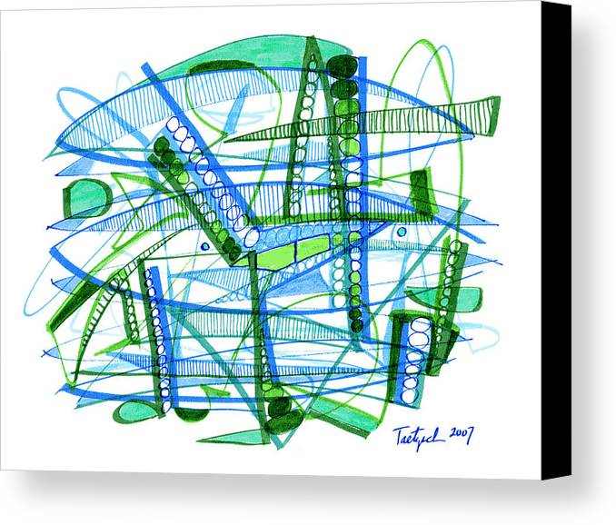 Abstract Canvas Print featuring the drawing Abstract Pen Drawing Twenty-eight by Lynne Taetzsch