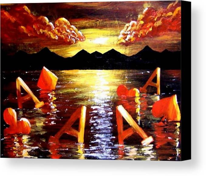 Poker Canvas Print featuring the painting Abstract Sunset Landscape Seascape Floating Aces Suits Poker Art Decor by Teo Alfonso