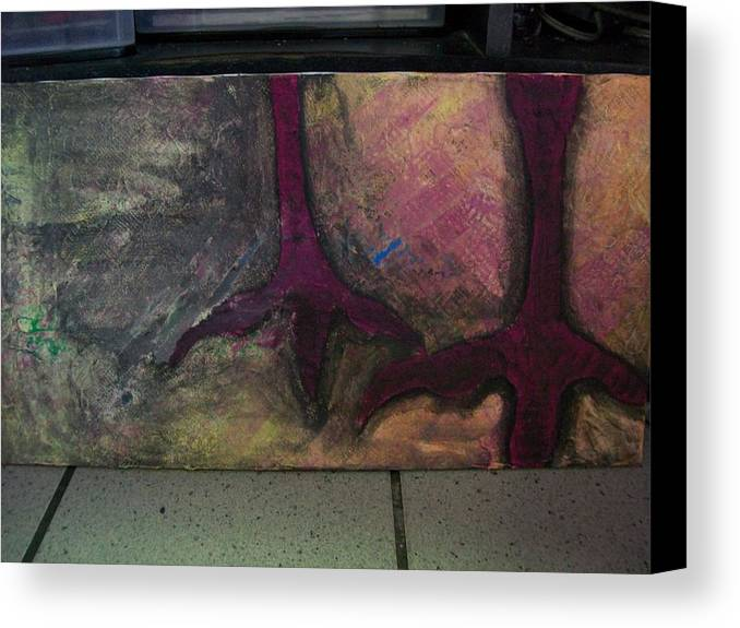 Crow Canvas Print featuring the painting Abstracty Crows Feet by Laurette Escobar
