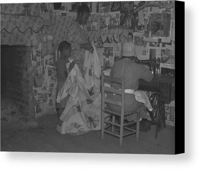 History Canvas Print featuring the photograph African American Mother Is Assisted by Everett