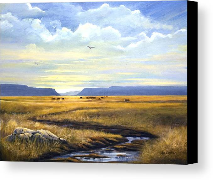 Landscape Canvas Print featuring the painting After A Hard Rain by Brooke Lyman
