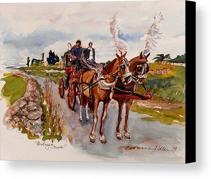 Landscape Canvas Print featuring the painting Afternoon Coachride by Doranne Alden