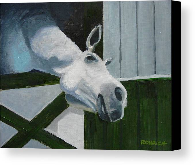 Horse Canvas Print featuring the painting Ah Common A Little More by Robert Rohrich