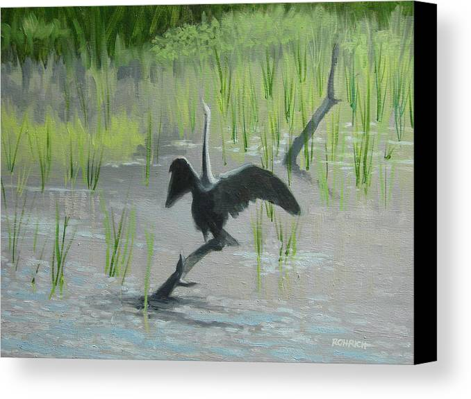 Water Canvas Print featuring the painting Ahh The Sun On My Back by Robert Rohrich