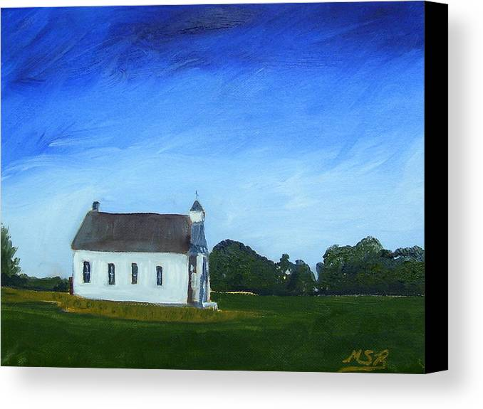 Akron Townhouse School Canvas Print featuring the painting Akron Townhouse School by Maria Soto Robbins