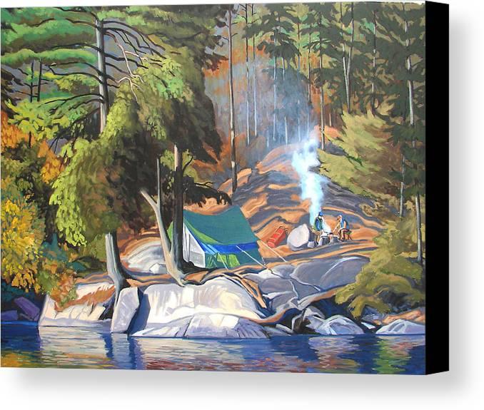 Landscape Canvas Print featuring the painting Algonquin Campsite by Paul Gauthier