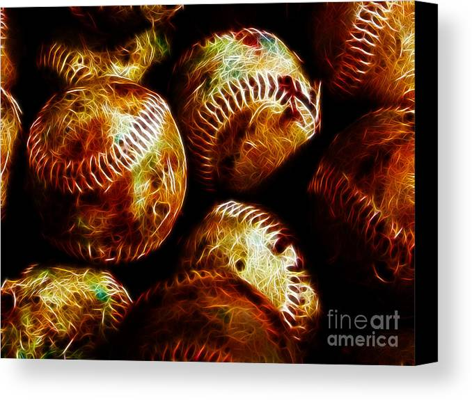 Baseball Canvas Print featuring the photograph All American Pastime - A Pile Of Fastballs - Electric Art by Wingsdomain Art and Photography