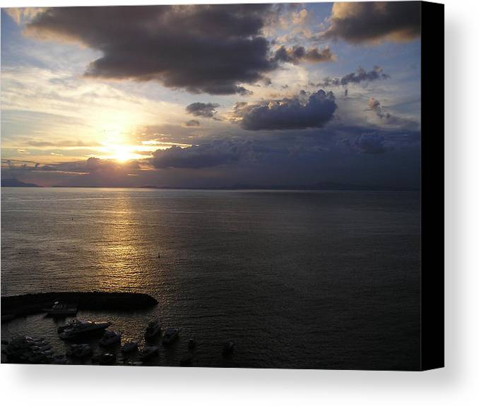 Amalfi Canvas Print featuring the photograph Amalfi Sunset by Stephanie Gobler