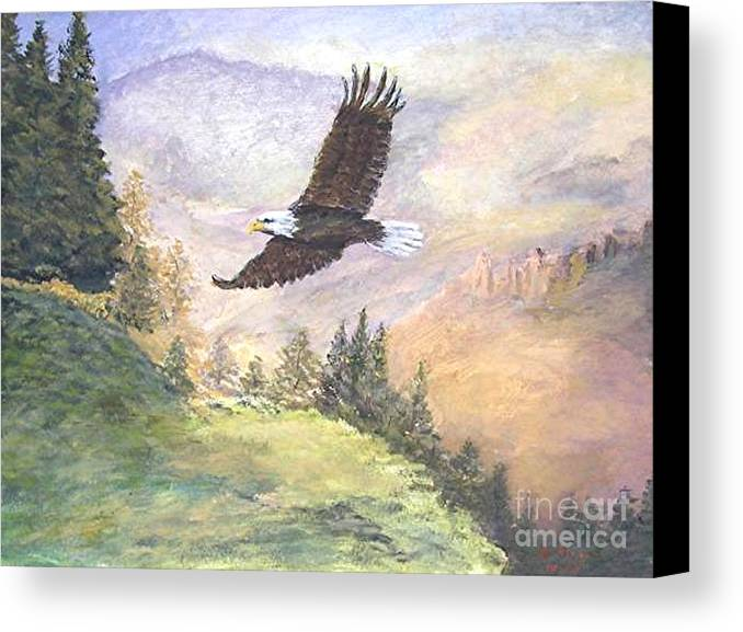 Landscape Painting Canvas Print featuring the painting American Bald Eagle by Nicholas Minniti