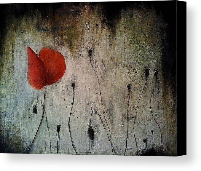 Flower Canvas Print featuring the painting Among The Weeds by Steffen Anderson