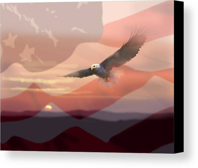 Eagle Canvas Print featuring the painting And The Eagle Flies by Paul Sachtleben