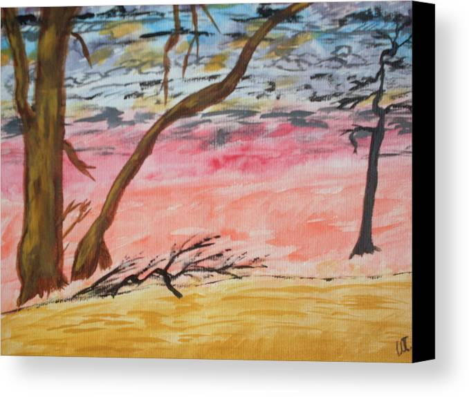 Landscape Canvas Print featuring the painting Angry Sky by Warren Thompson