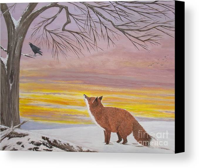 Vivid Sunset Sky Canvas Print featuring the painting Anticipation - Red Fox by Patti Lennox