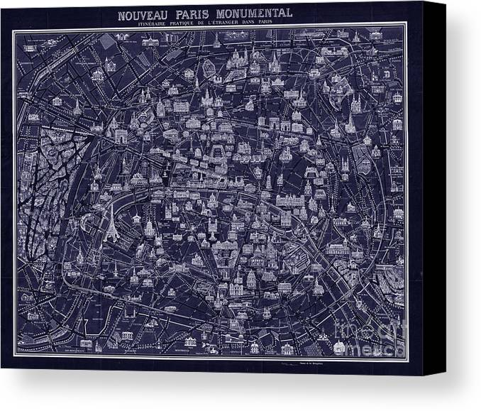 Restored And Altered Antique 1920 Pocket Map Of Paris Done In A Blueprint Style. Canvas Print featuring the drawing Antique French Pocket Map Of Paris Blueprint Style by Tina Lavoie