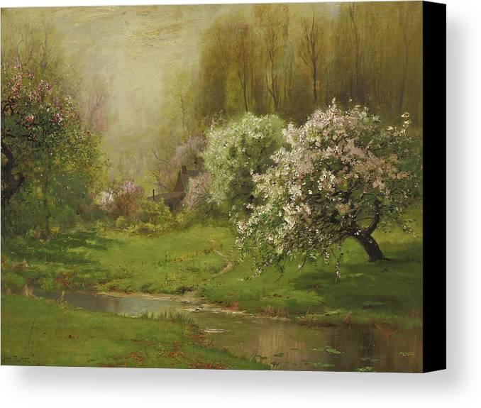 Arthur Parton Canvas Print featuring the painting Apple Blossoms by Arthur Parton