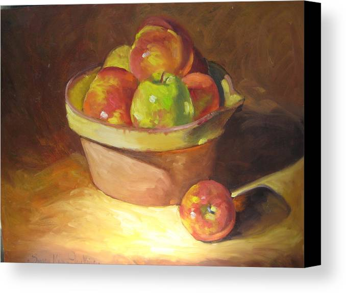 Stilllife Canvas Print featuring the painting Apples In A French Bowl. by Susan Jenkins
