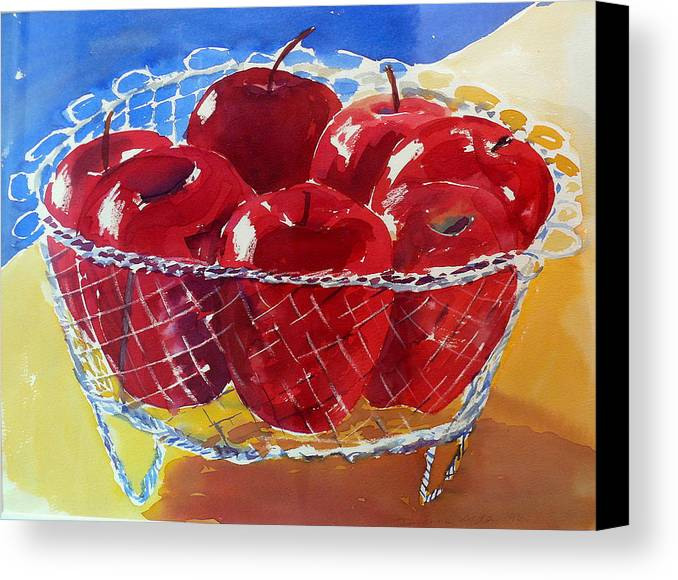 Apples Canvas Print featuring the painting Apples In Wirebasket by Doranne Alden
