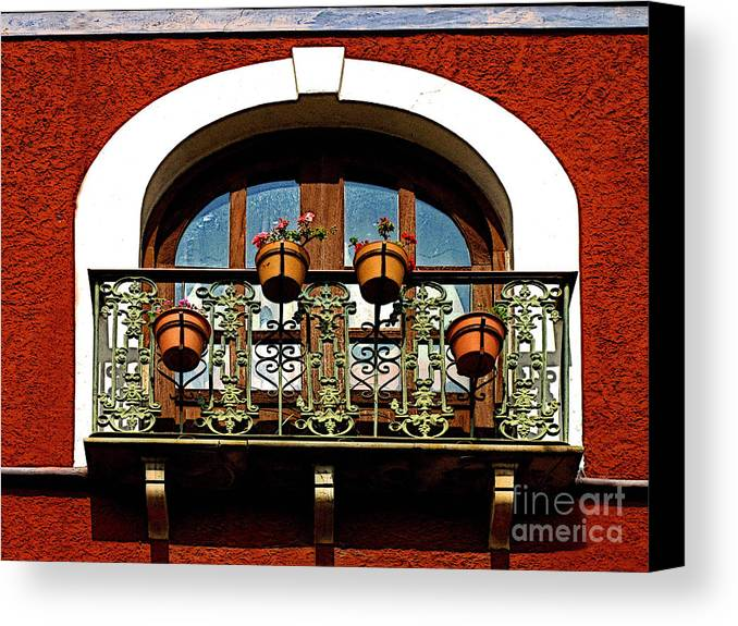 Darian Day Canvas Print featuring the photograph Arched Window With Flowers by Mexicolors Art Photography