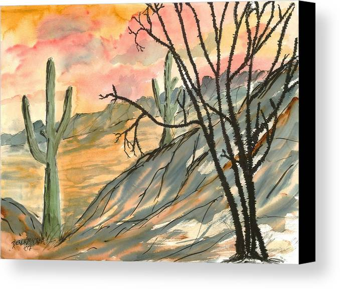 Drawing Canvas Print featuring the painting Arizona Evening Southwestern Landscape Painting Poster Print by Derek Mccrea