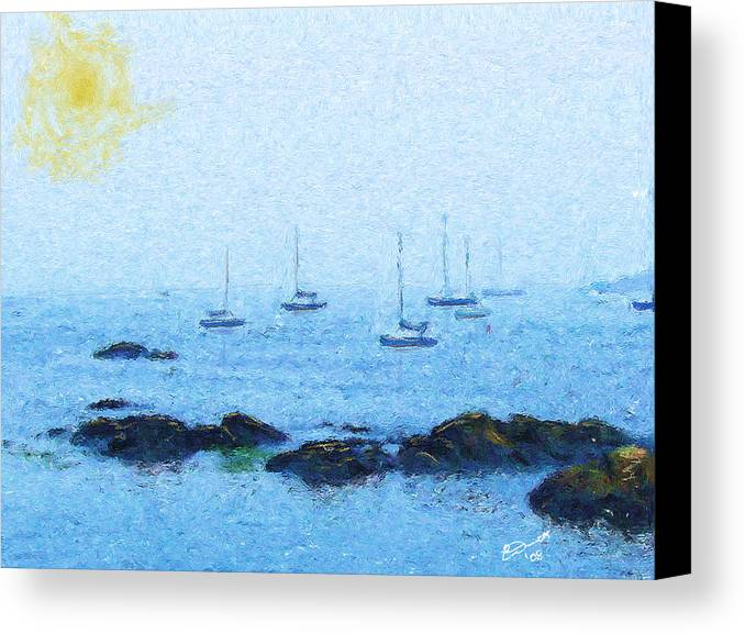 Sail Sailing Harbor Ocean Sea Marblehead Mass Bay Canvas Print featuring the painting Attente Pour La Brise by Eddie Durrett