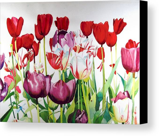 Tulips Canvas Print featuring the painting Attention by Elizabeth Carr