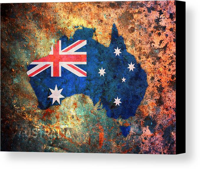 Australia flag map canvas print canvas art by michael tompsett australia canvas print featuring the digital art australia flag map by michael tompsett gumiabroncs Image collections