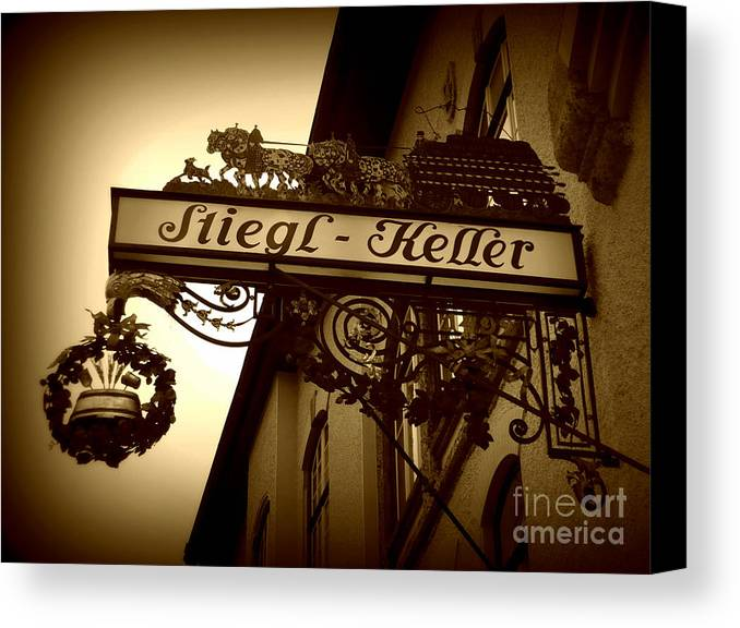Sign Canvas Print featuring the photograph Austrian Beer Cellar Sign by Carol Groenen