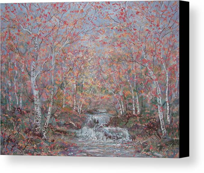 Landscape Canvas Print featuring the painting Autumn Birch Trees. by Leonard Holland