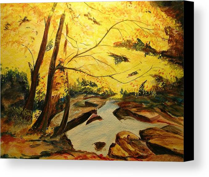 Trees In Autumn Canvas Print featuring the painting Autumn Colours by Lizzy Forrester
