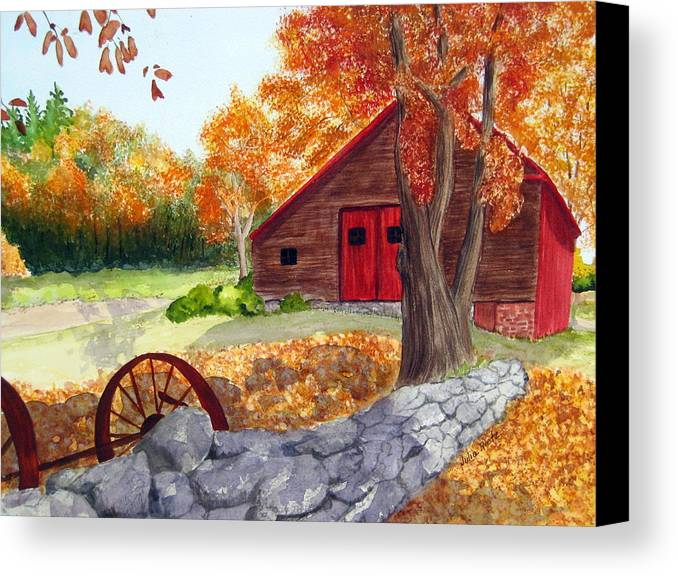Barn Canvas Print featuring the painting Autumn Day by Julia RIETZ
